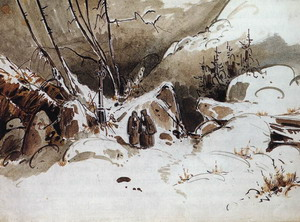 Alpine Pass in Winter with Monks 1833
