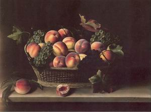 Basket with Peaches and Grapes 1631
