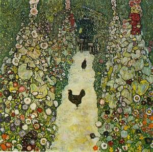 Garden Path with Chickens 1916