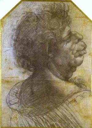 Grotesque Portrait Study of Man. c. 1500-1505