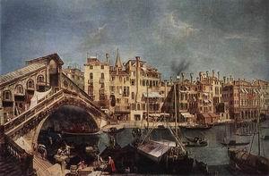 The Rialto Bridge from the Riva del Vin c. 1740
