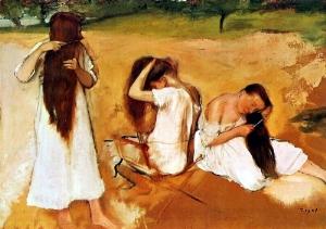 Three Women Combing Their Hair 1875-76