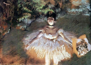 Dancer Onstage with a Bouquet 1876