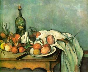 Still Life with Onions and Bottle 1895-1900