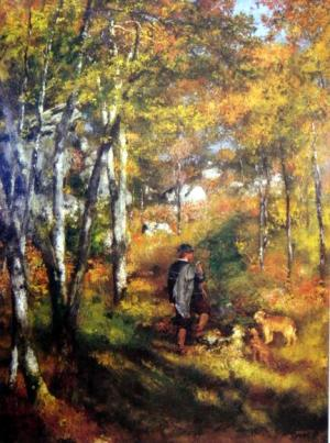 The painter Jules Le Coeur Walking his Dogs in the Forest of Fontainebleau, 1866
