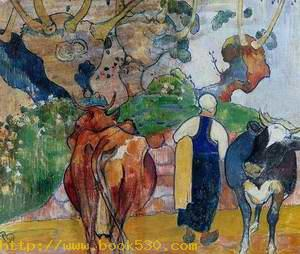 Peasant Woman And Cows In A Landscape