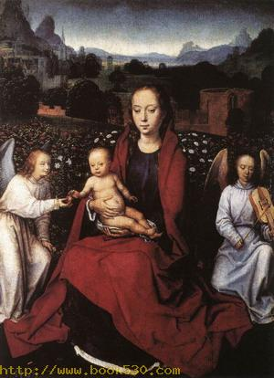 Virgin and Child in a Rose-Garden with Two Angels 1480s