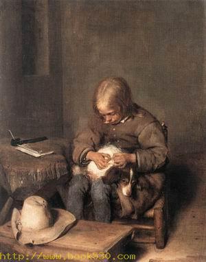 Boy Ridding his Dog of Fleas c. 1665