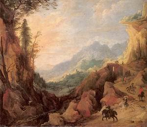 Mountainous Landscape with a Bridge and Four Horsemen