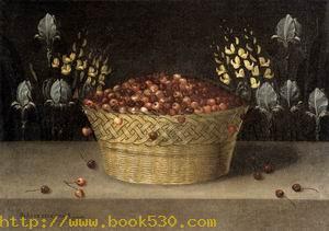 Basket of Cherries and Flowers c. 1620