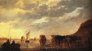 Herdsman with Cows by a River 1650