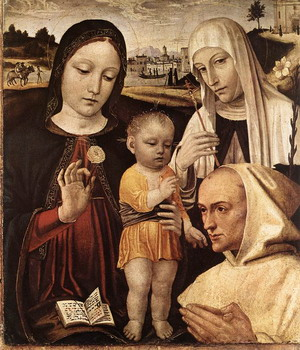 Madonna and Child, St Catherine and the Blessed Stefano Maconi c. 1490