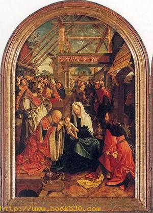 Tryptych with the Adoration of the Magi, Donors, & Saints(cnetre) 1517