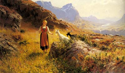 An Alpine Landscapewith a Shepherdess and Goats