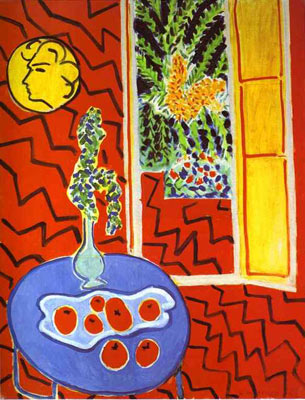 Red Interior. Still Life on a Blue Table