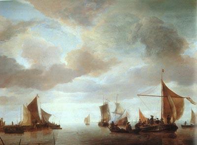 Ships on a Calm Sea near Land
