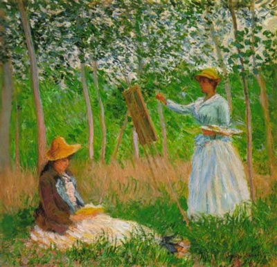 Suzanne Reading and Blanche Painting by the Marsh