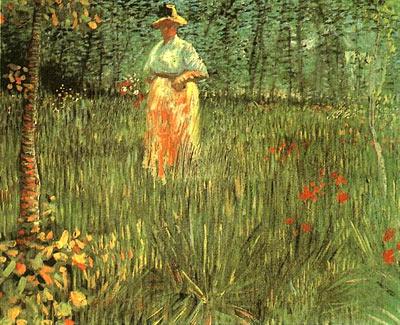Woman Walking in a Garden, A