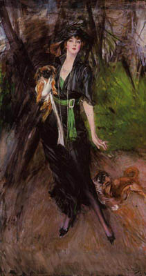Portrait of a Lady, Lina Bilitis, with Two Pekinese