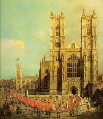 Westminster Abbey with a Procession of the Knights of Bath