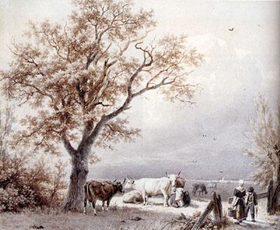 Cows In A Sunlit Meadow