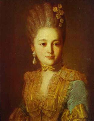 Portrait of an Unknown Woman in a Blue Dress with Yellow Trimmings