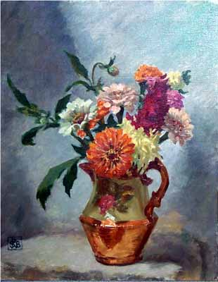 Still Life with Dahlias and Marigolds