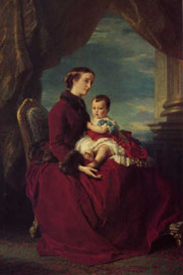 The Empress Eugenie Holding Louis Napoleon, the Prince Imperial on her Knees
