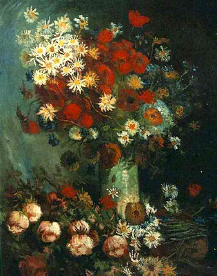 Vase with Poppies, Cornflowers, Peonies and Chrysanthemums
