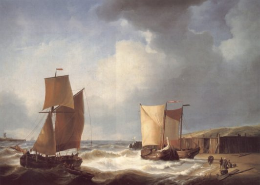 Abraham Hulk - Fisherfolk and Ships by the Coast