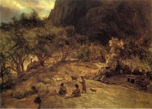 Albert Bierstadt - Mariposa Indian Encampment Yosemite Valley California