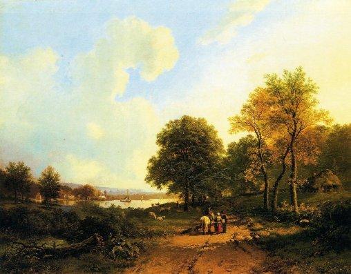 Barend Cornelis Koekkoek - Peasants on a Path by a River