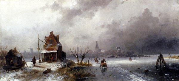 Charles Henri Joseph Leickert - Figures On A Frozen Lake