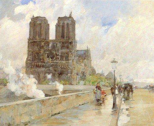 Childe Hassam - Notre Dame Cathedral, Paris 1888