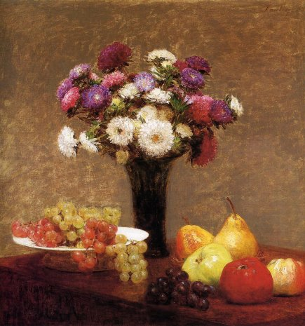 Henri Fantin-Latour - Asters and Fruit on a Table