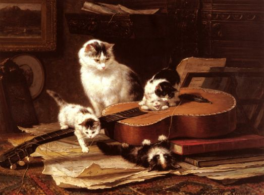 Henriette Ronner-Knip - Playing with the Guitar