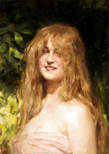 Leon Francois Comerre - Portrait of a Girl