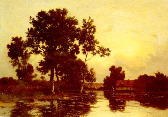 Leon Richet - Paysage De Riviere Au Crepuscule