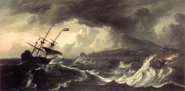 Ludolf Backhuysen - Ships Running Aground in a Storm