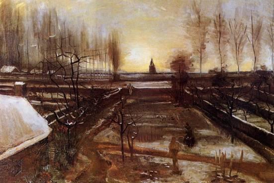 Vincent van Gogh - The Parsonage Garden at Nuenen in the Snow 1