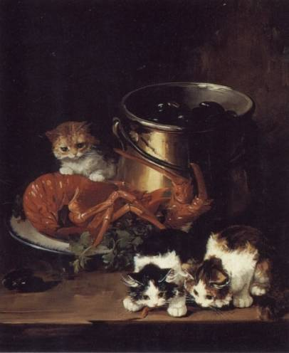 Brunel Neuville - Kittens with Mussels and a Lobster