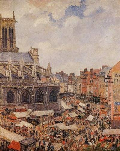 Camille Pissarro - The Market by the Church of Saint-Jacques, Dieppe