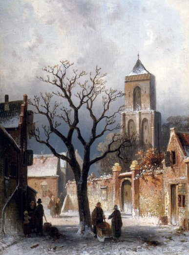 Charles Henri Joseph Leickert - A Village Snow Scene