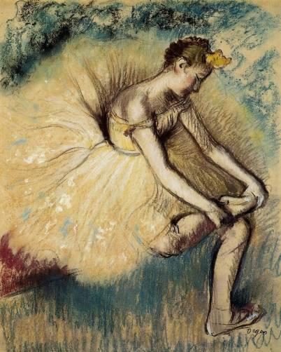 Edgar Degas - Dancer Putting on Her Slipper