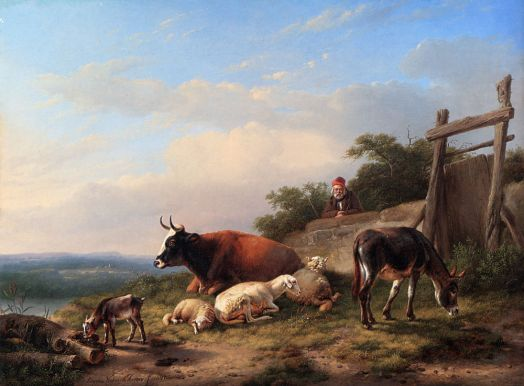 Eugene Joseph Verboeckhoven - A Farmer Tending His Animals