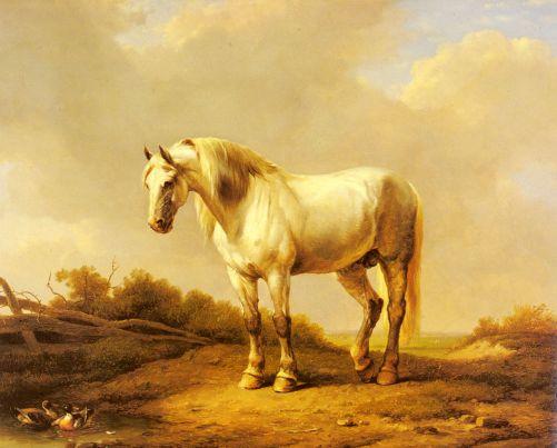 Eugene Joseph Verboeckhoven - A White Stallion In A Landscape