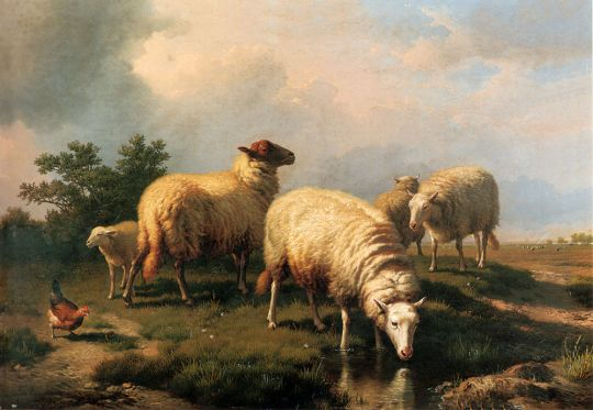 Eugene Joseph Verboeckhoven - Sheep And A Chicken In A Landscape