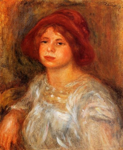 Pierre-Auguste Renoir - Young Girl Wearing a Red Hat