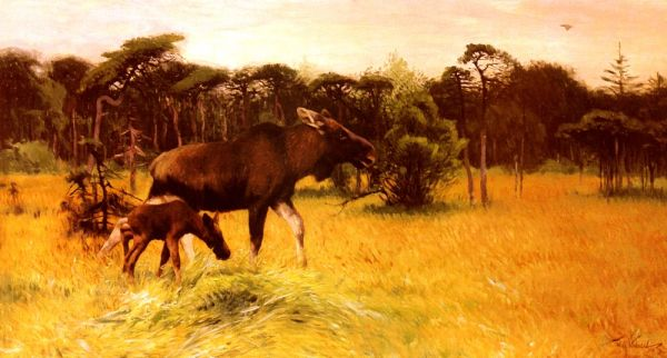 Wilhelm Kuhnert - Moose with her Calf in a Landscape