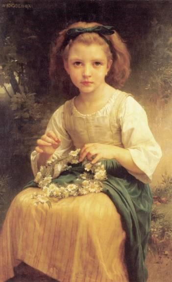 William Adolphe Bouguereau - Child braiding a crown